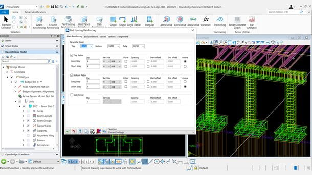 OpenBridge Modeler ProConcrete Parametric Footing Reinforcement