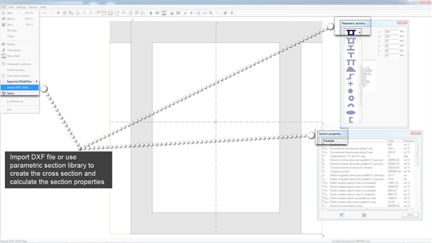 Import section shapes created in DXF