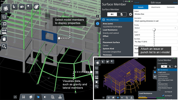 View query and mark up structural 3D models using a mobile device
