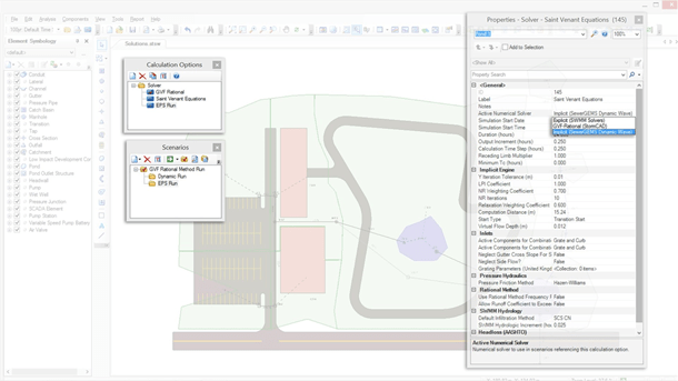 Simulate hydraulics using multiple solvers